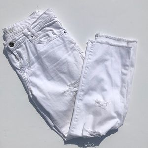 Denim - Zara White Raw Hem Distressed White Jeans